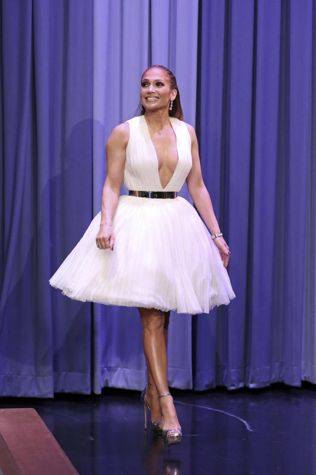 "<p>Lopez channelled her inner ballerina in this plunging v-neck dress by Saiid Kobeisy for her appearance on ""The Tonight Show with Jimmy Fallon."" </p>"