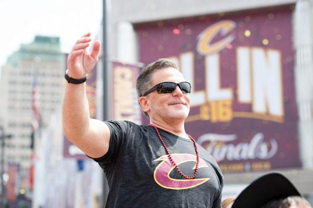 Dan Gilbert at the Cavs' victory parade in 2016. (Getty)