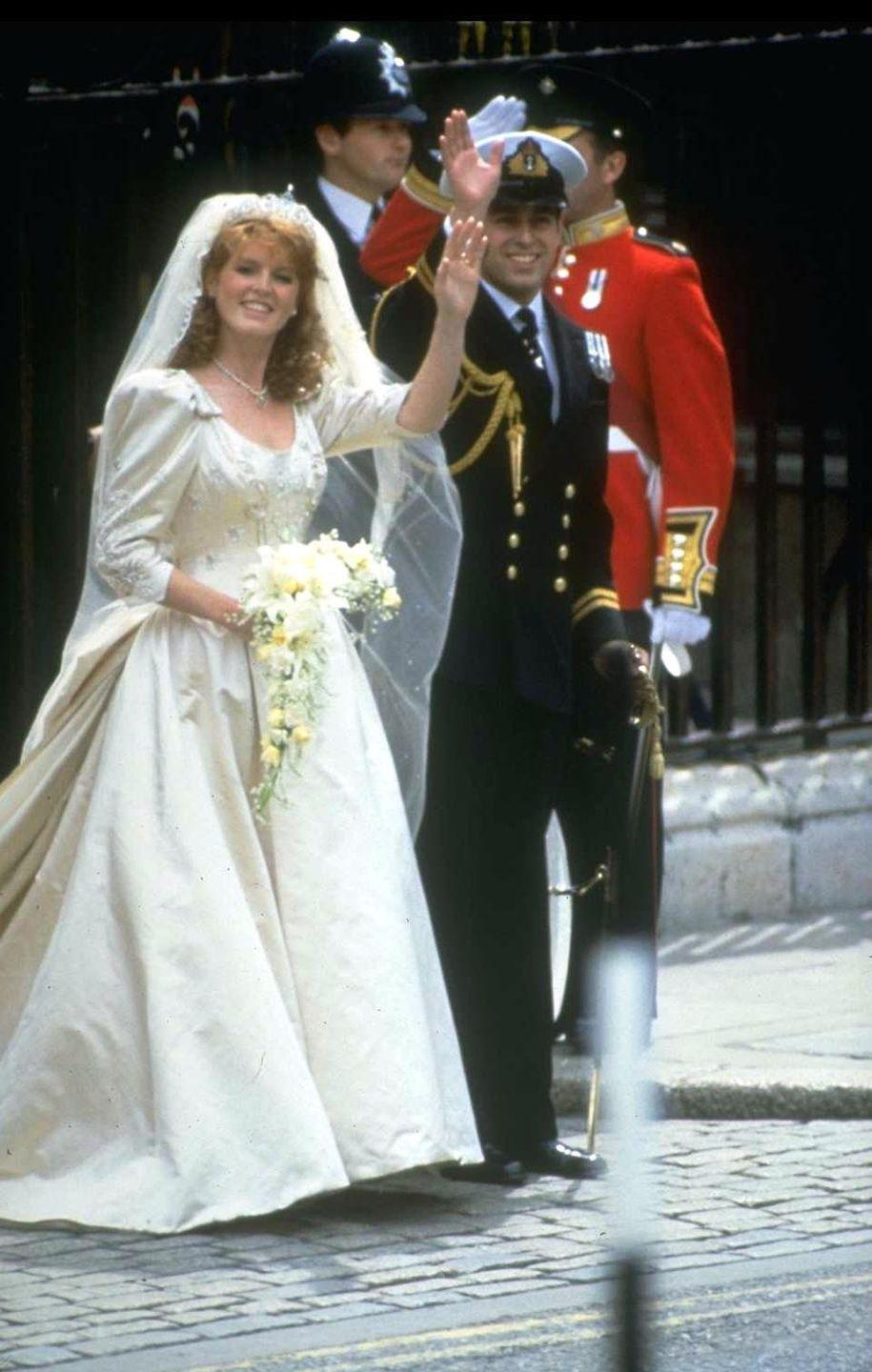 "<p><a href=""https://www.townandcountrymag.com/society/tradition/g11664546/scandalous-royal-romances/"" rel=""nofollow noopener"" target=""_blank"" data-ylk=""slk:Duchess of York Sarah Ferguson married Prince Andrew"" class=""link rapid-noclick-resp"">Duchess of York Sarah Ferguson married Prince Andrew</a> on July 23, 1986 at Westminster Abbey. Ferguson's wedding dress, designed by <span class=""redactor-unlink"">Lindka Cierach,</span> featured heavy beadwork, depicting symbols that were personally significant to the couple—including hearts, anchors, thistles, and bumblebees. </p>"