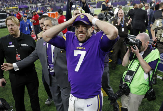 Vikings quarterback Case Keenum (7) celebrates following a 29-24 win over the New Orleans Saints on Sunday in Minneapolis. (AP)