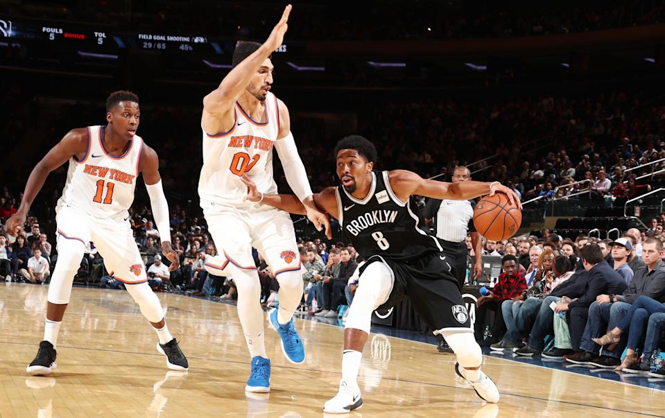 That classic New York basketball rivalry between Knicks center Enes Kanter and Nets guard Spencer Dinwiddie. (Getty Images)