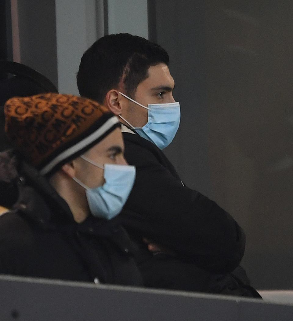 WOLVERHAMPTON, ENGLAND - FEBRUARY 02: Raul Jimenez of Wolves watches from the stands during the Premier League match between Wolverhampton Wanderers and Arsenal at Molineux on February 02, 2021 in Wolverhampton, England. (Photo by David Price/Arsenal FC via Getty Images)
