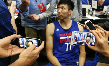 Zhou Qi at the NBA draft combine. (AP)