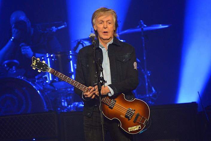 LONDON, ENGLAND - DECEMBER 16: Sir Paul McCartney performs live on stage at the O2 Arena during his 'Freshen Up' tour, on December 16, 2018 in London, England. (Photo by Jim Dyson/Getty Images)
