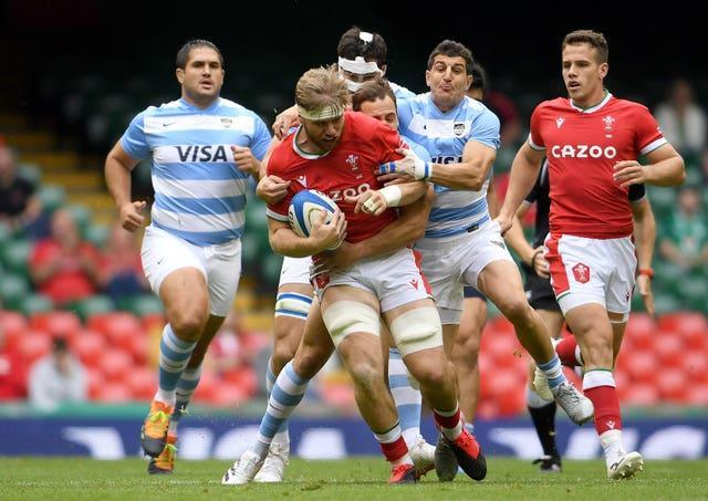 Wales' Aaron Wainwright carries the ball during the Summer Series match against Argentina