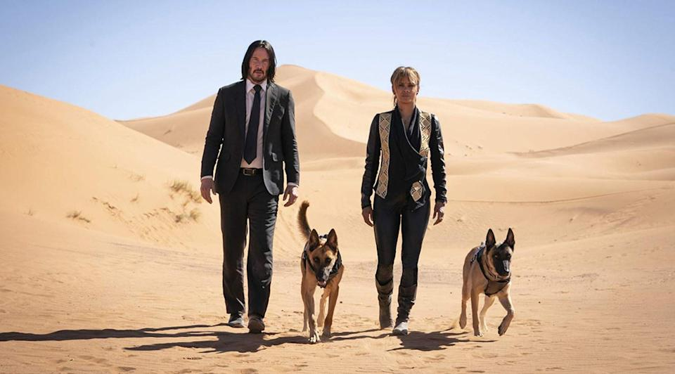 Keanu Reeves and Halle Berry with good boy pals in John Wick 3 (credit: Lionsgate)