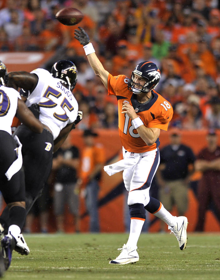 Denver Broncos quarterback Peyton Manning (18) throws under pressure from Baltimore Ravens outside linebacker Terrell Suggs (55) during the first half of an NFL football game, Thursday, Sept. 5, 2013, in Denver. (AP Photo/Jack Dempsey)