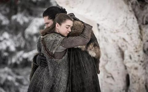Jon and Arya: together again at Winterfell - Credit: HBO