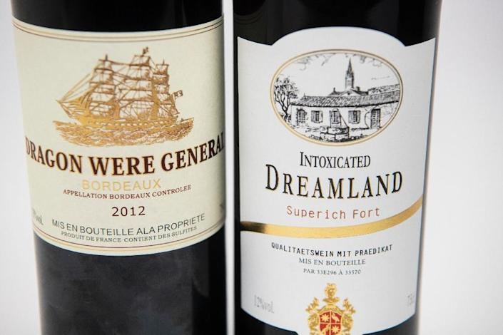 A selection of 'Bordeaux' wines with unusual names (AFP Photo/FRED DUFOUR)