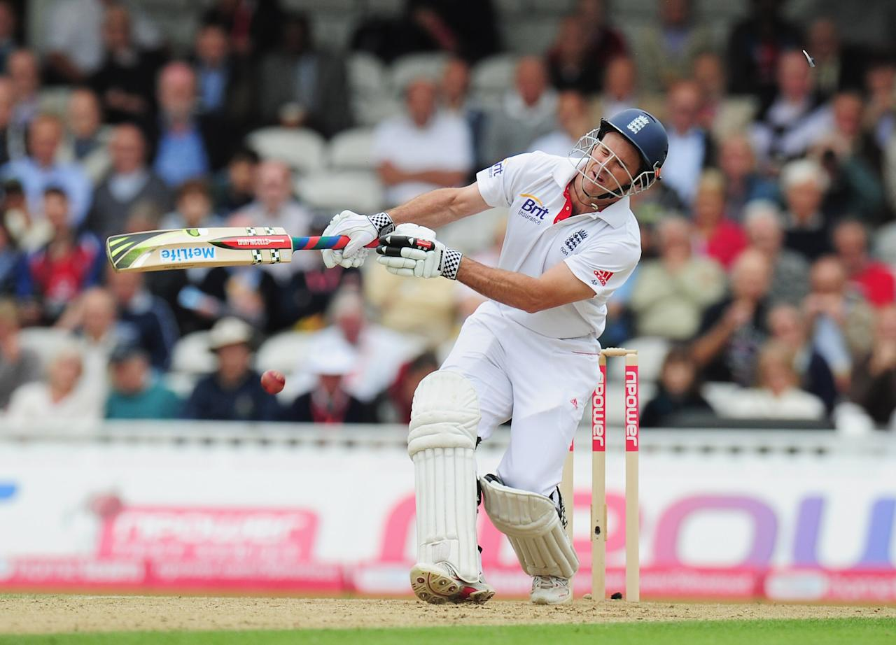 LONDON, ENGLAND - AUGUST 18:  Andrew Strauss of England is hit on the helmet by a delivery from Ishant Sharma of India during day one of the 4th npower Test Match between England and India at The Kia Oval on August 18, 2011 in London, England.  (Photo by Shaun Botterill/Getty Images)