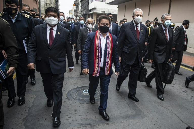 Peruvian media reported the 41-year-old was investigated by prosecutors for allegedly defending terrorism with statements made shortly after taking up his seat in parliament in June (AFP/ERNESTO BENAVIDES)