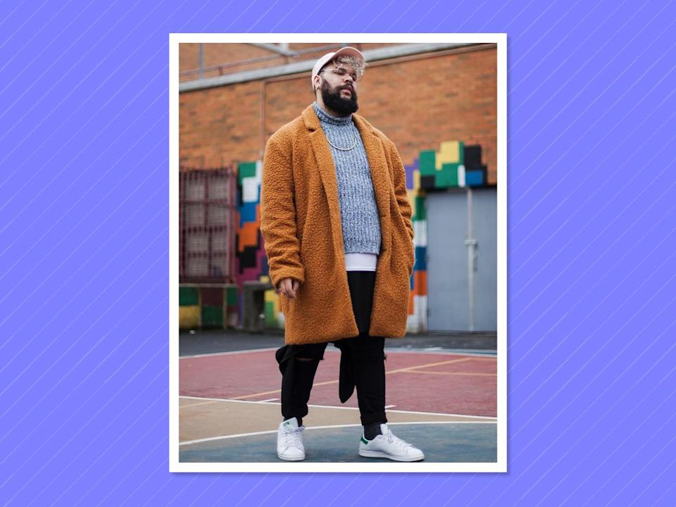 """<p><a href=""""https://www.instagram.com/marquimode/"""" rel=""""nofollow noopener"""" target=""""_blank"""" data-ylk=""""slk:Neal"""" class=""""link rapid-noclick-resp"""">Neal</a> is a fashion chameleon taking over the NYC street-style scene with his downtown vibes and dressed-up sporty nature. (Photo: Vincent Master) </p>"""