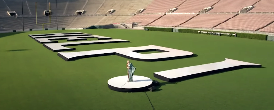 Miley Cyrus performs in an empty Rose Bowl for Global Goal: Unite for Our Future. (Photo: YouTube)