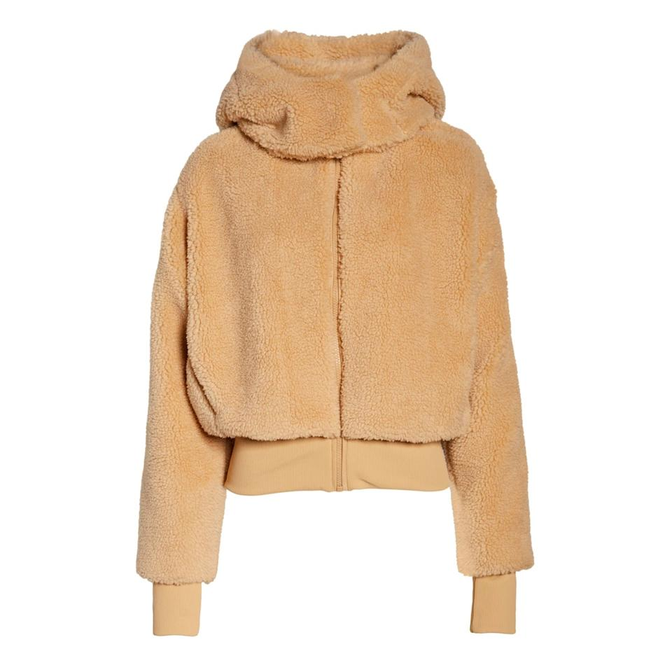 "$188, Carbon 38. <a href=""https://www.carbon38.com/product/foxy-sherpa-jacket-tan"">Get it now!</a>"