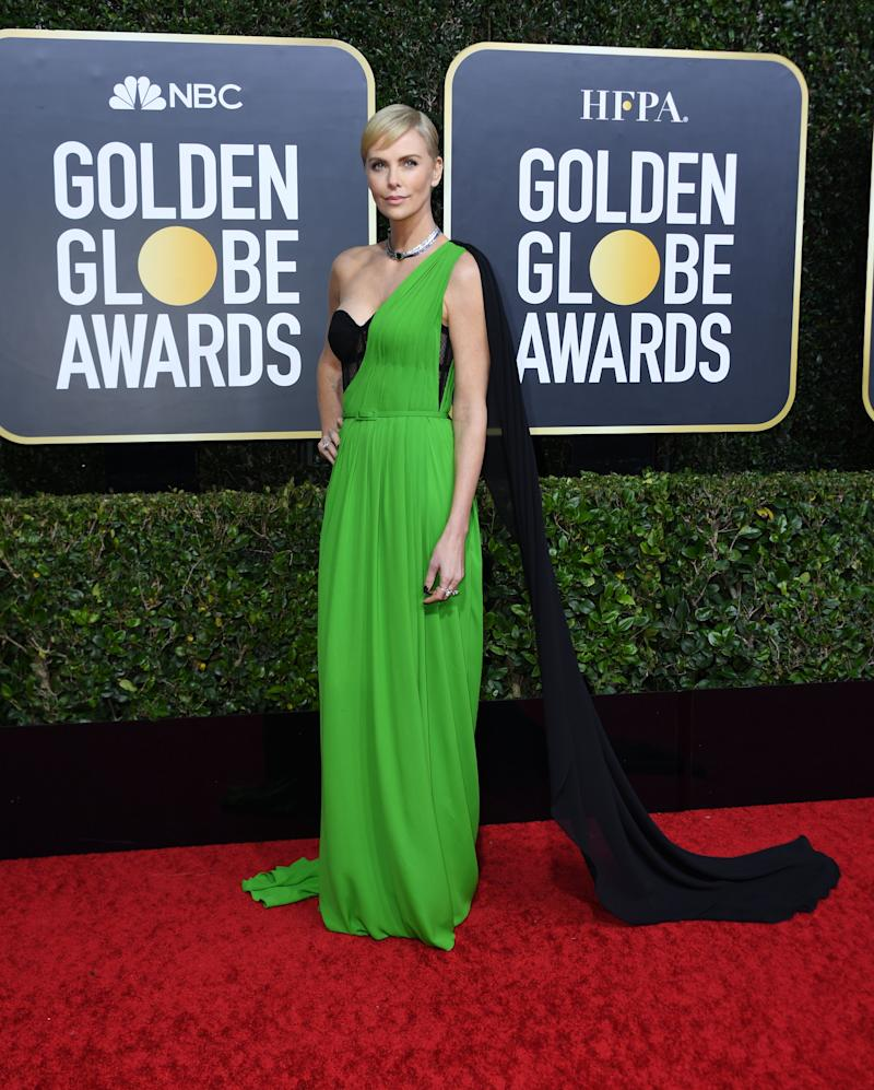 Charlize Theron in Dior on the Golden Globes red carpet