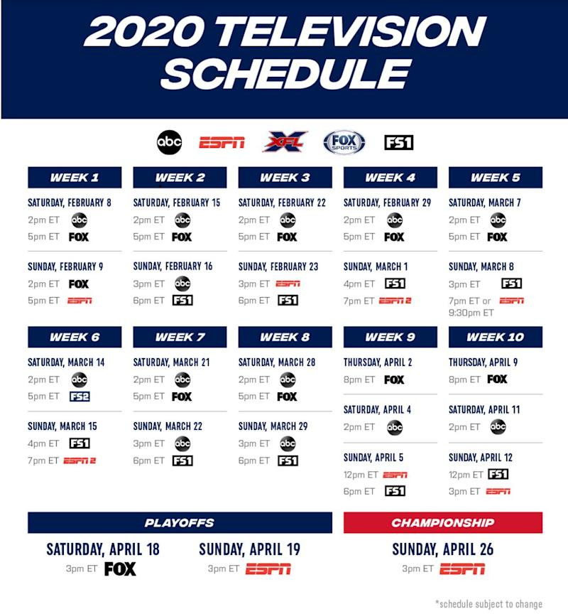 The XFL announced a partnership with Disney's ABC and ESPN networks and Fox Sports to air games across ABC, ESPN and ESPN 2 as well as Fox and FS1 on Saturdays and Sundays starting in February. [XFL]