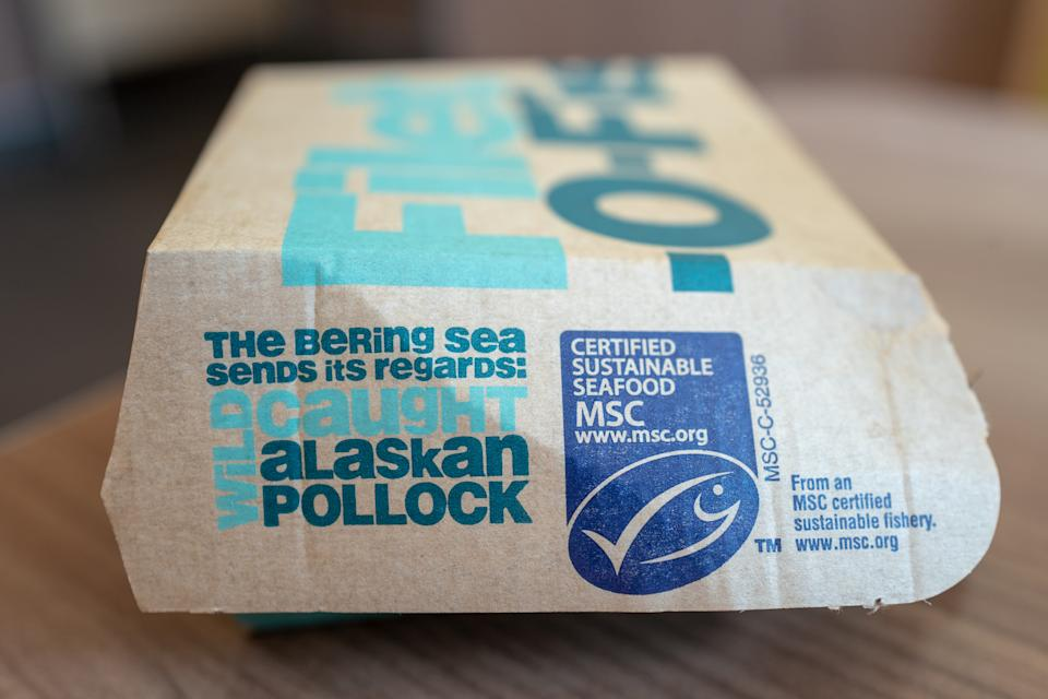 Close-up of box for McDonald's Filet-o-fish sandwich, with MSC certified sustainable seafood seal, part of sustainability efforts at the fast food chain, Coalingua, California, October 26, 2019. (Photo by Smith Collection/Gado/Getty Images)