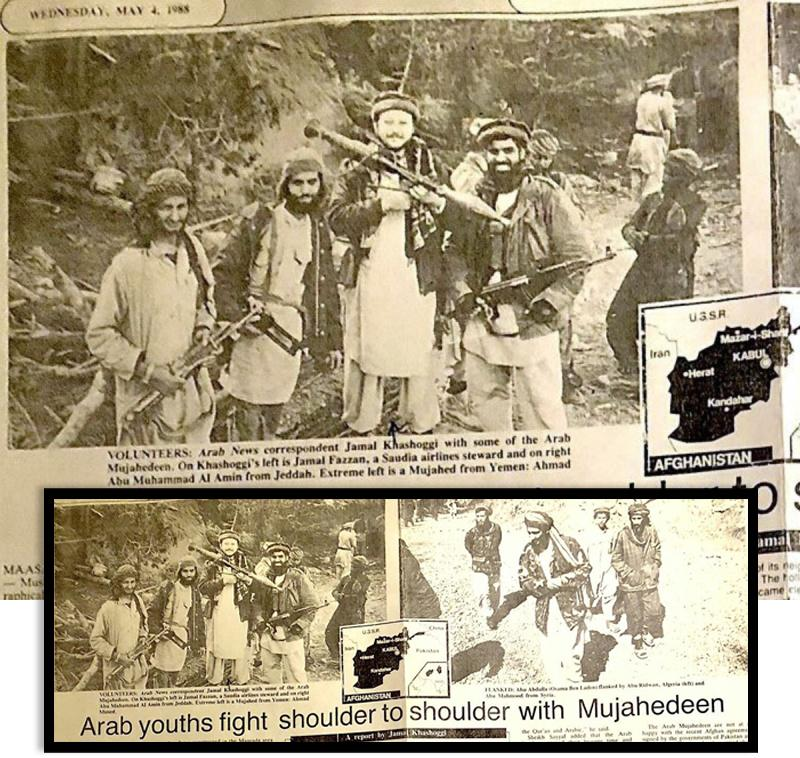 Tears from the Arab News May 4, 1988 article with Jamal Khashoggi pictured with a rocket launcher; and, below, Osama bin Laden seen in the photo on the right.