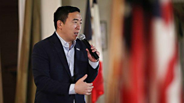 PHOTO: Democratic presidential candidate Andrew Yang speaks during a campaign event at the Cedar Falls Woman's Club on Jan. 30, 2020, in Cedar Falls, Iowa. Iowa's first-in-the-nation caucuses will be held on February 3. (Joe Raedle/Getty Images)