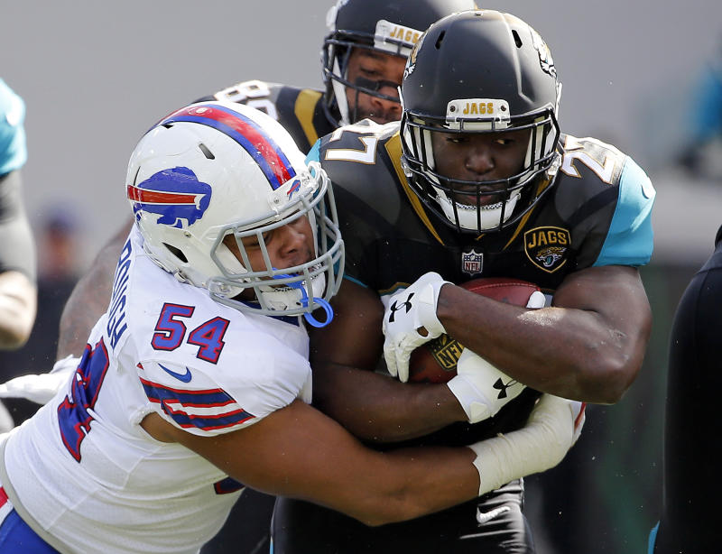 The Bills bottled up Leonard Fournette in a losing effort, holding the rookie to 57 yards on 21 carries. (AP)