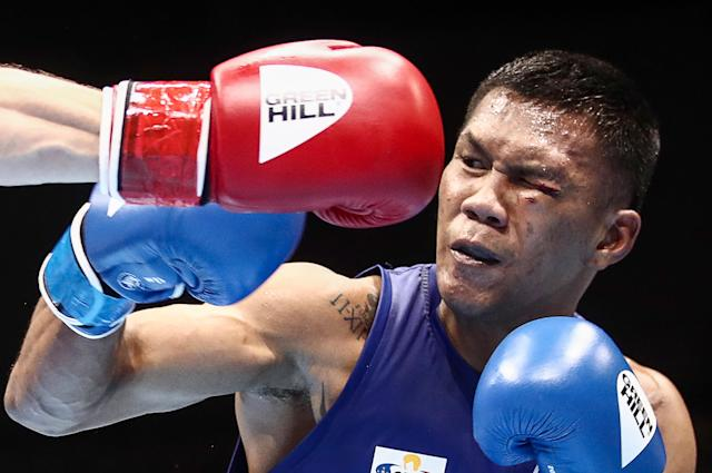 Highly regarded middleweight prospect Eumir Felix Marcial of the Philippines signed a deal with Manny Pacquiao's MP Promotions. He'll turn pro in 2020 but still plans to chase an Olympic gold medal at middleweight. (Photo by Valery Sharifulin/Getty Images)