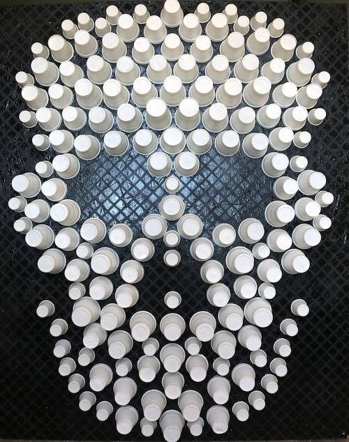 """<p>Calvert made this ominous artwork from dozens of disposable cups found in the isolated building where she grew up. (Photo: <a href=""""http://www.stephanielcalvert.com/"""" rel=""""nofollow noopener"""" target=""""_blank"""" data-ylk=""""slk:Stephanie Calvert"""" class=""""link rapid-noclick-resp"""">Stephanie Calvert</a>)</p>"""