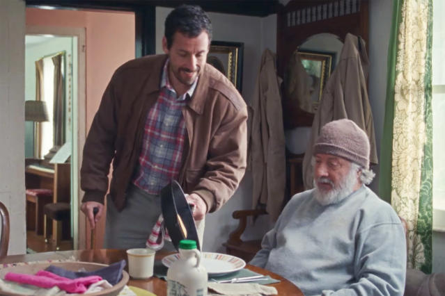 Adam Sandler and Dustin Hoffman in Netflix's <i>The Meyerowitz Stories</i>. (Photo: Netflix)