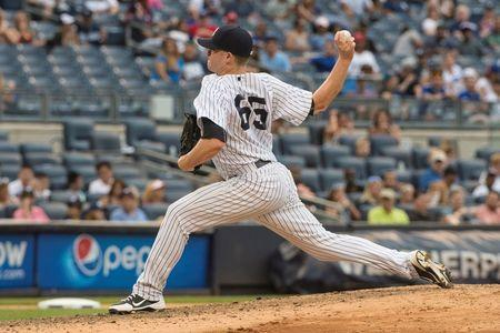 Sep 13, 2015; Bronx, NY, USA; New York Yankees pitcher Caleb Cotham (65) delivers a pitch during the ninth inning of the game against the Toronto Blue Jays at Yankee Stadium. Mandatory Credit: Gregory J. Fisher-USA TODAY Sports