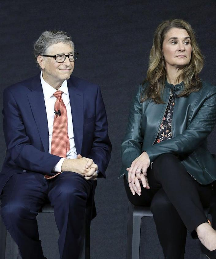 Bill Gates and his wife Melinda Gates attend the Goalkeepers event at the Lincoln Center on September 26, 2018, in New York. (Photo by Ludovic MARIN / AFP) (Photo by LUDOVIC MARIN/AFP via Getty Images)