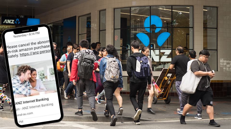 People walking outside an ANZ branch on a busy street and the smishing text customers have been receiving.