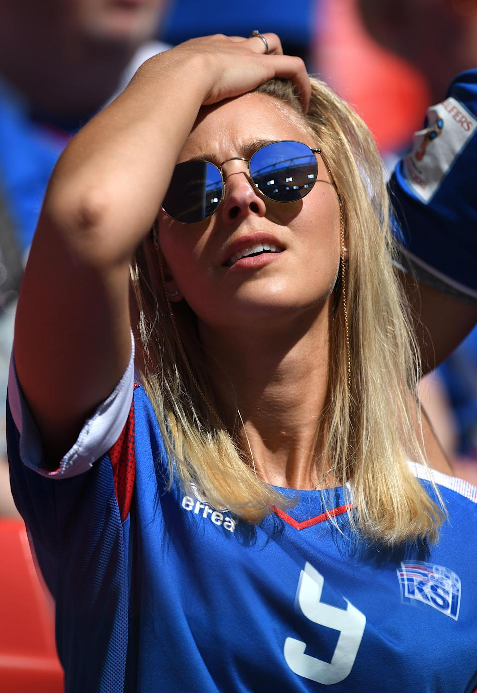 <p>An Iceland fan enjoys the pre match atmosphere prior to the 2018 FIFA World Cup Russia group D match between Argentina and Iceland at Spartak Stadium on June 16, 2018 in Moscow, Russia. (Photo by Matthias Hangst/Getty Images) </p>