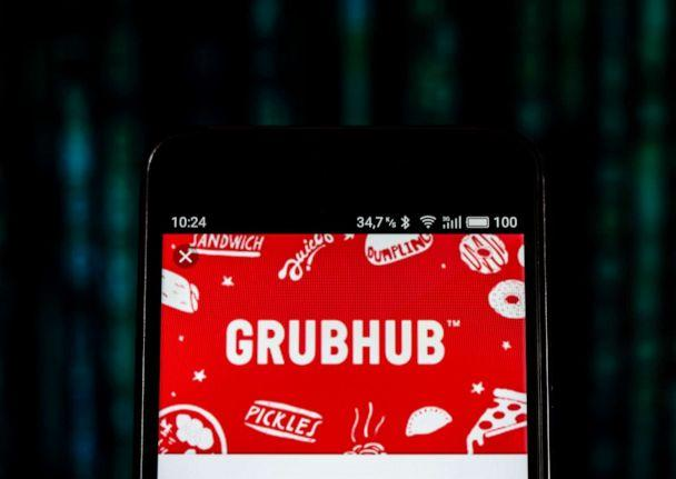 PHOTO: The GrubHub logo is displayed on a smartphone. (Sopa Images/LightRocket via Getty Images)
