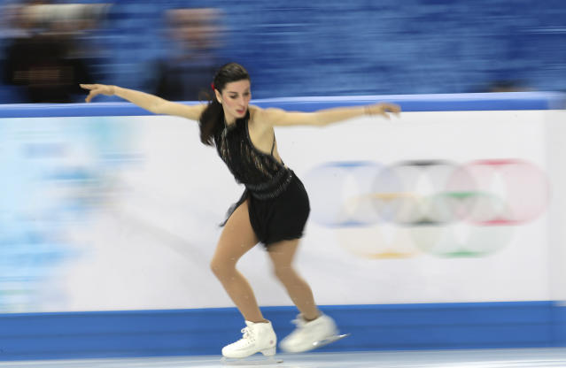Valentina Marchei of Italy competes in the women's free skate figure skating finals at the Iceberg Skating Palace during the 2014 Winter Olympics, Thursday, Feb. 20, 2014, in Sochi, Russia. (AP Photo/Bernat Armangue)