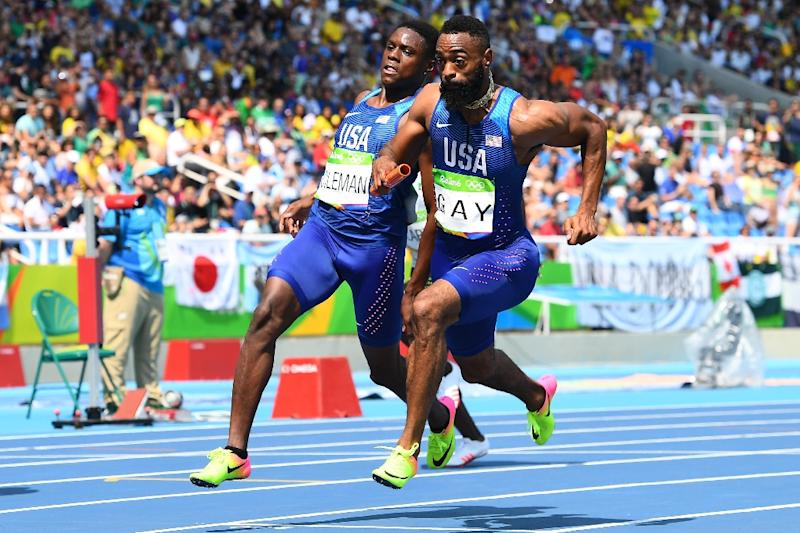 USA's Tyson Gay (R) is making a bid to force