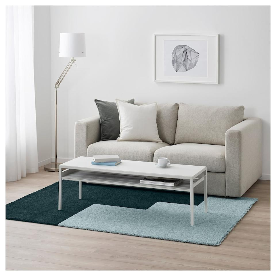 "<p>Stain-resistant and shed-free, the <a href=""https://www.popsugar.com/buy/Kongstrup-Rug-508380?p_name=Kongstrup%20Rug&retailer=ikea.com&pid=508380&price=80&evar1=casa%3Aus&evar9=36179434&evar98=https%3A%2F%2Fwww.popsugar.com%2Fhome%2Fphoto-gallery%2F36179434%2Fimage%2F46823865%2FKongstrup-Rug&list1=shopping%2Cgifts%2Choliday%2Cgift%20guide%2Cikea%2Cdecor%20shopping%2Choliday%20living%2Cdecor%20gifts&prop13=api&pdata=1"" rel=""nofollow"" data-shoppable-link=""1"" target=""_blank"" class=""ga-track"" data-ga-category=""Related"" data-ga-label=""https://www.ikea.com/us/en/p/kongstrup-rug-high-pile-light-blue-green-10435219/"" data-ga-action=""In-Line Links"">Kongstrup Rug</a> ($80) will last for years to come. </p>"