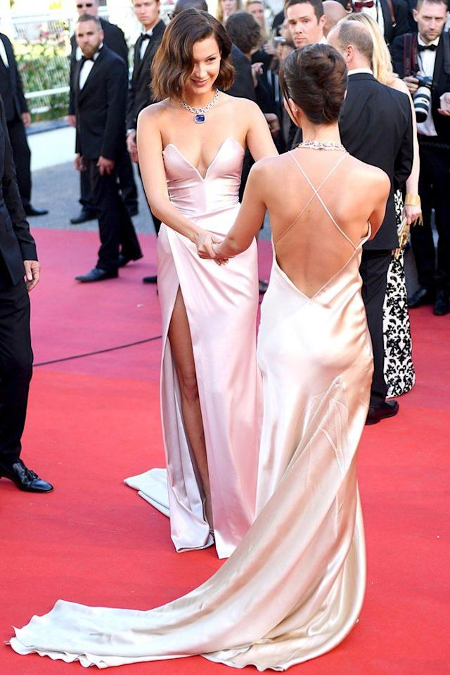 Bella Hadid, left, and Emily Ratajkowski arrive at the 2017 Cannes Film Festival. (Photo: James Gourley/REX/Shutterstock)