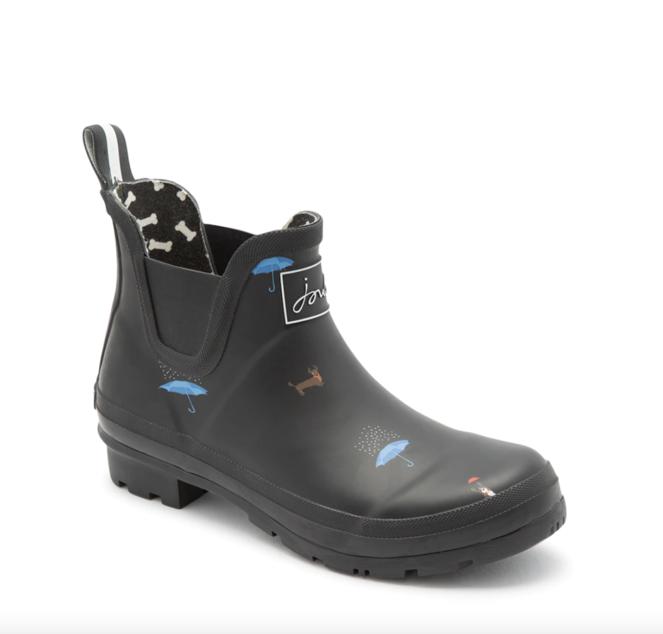 black Joules Wellibob Cat and Dog Rain Boots with blue umbrellas
