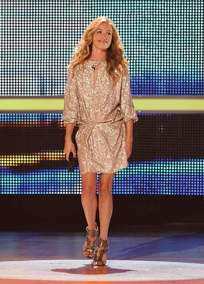 "<a href=""/cat-deeley/contributor/2212390"">Cat Deeley</a> wore a sequined dress paired with gladiator heels from Camilla Skovgaard for the Season 5 <a href=""/so-you-think-you-can-dance/show/36160"">""So You Think You Can Dance""</a> Top 4 elimination show."