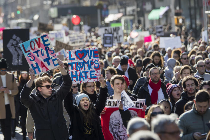 <p>Demonstrators chant slogans as they march up Fifth Avenue during a protest against the election of President-elect Donald Trump, Saturday, Nov. 12, 2016, in New York. (AP Photo/Mary Altaffer) </p>