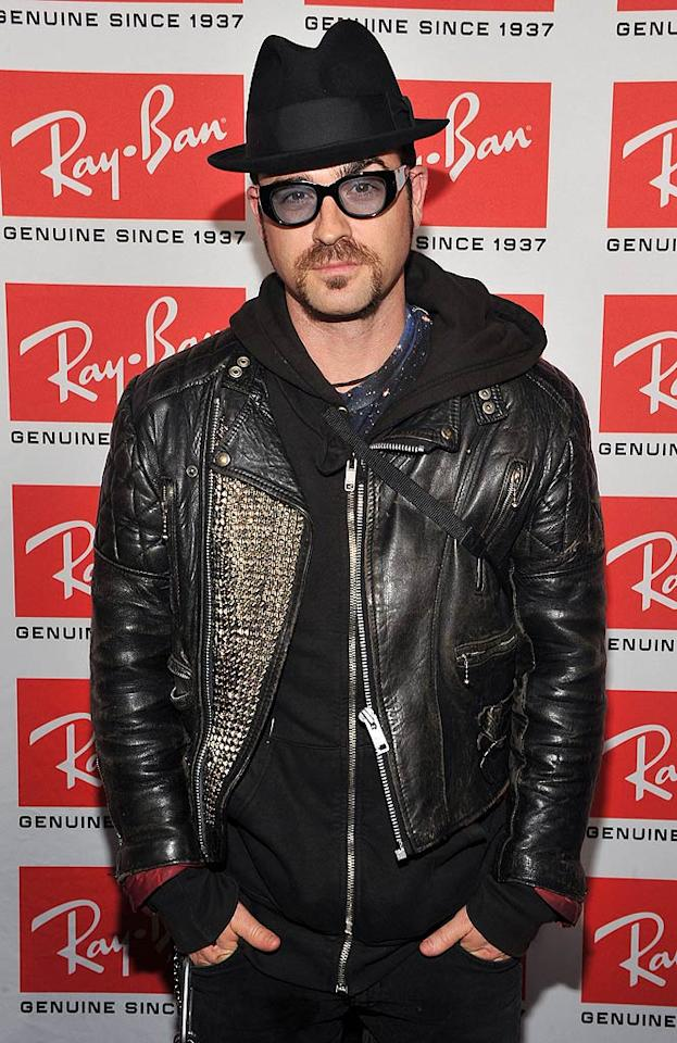 """Parks and Recreation's"" Justin Theroux was practically incognito -- but still sexy -- behind his many accessories. There's just one we'd like him to lose, and it's right under his nose. Theo Wargo/<a href=""http://www.wireimage.com"" target=""new"">WireImage.com</a> - May 12, 2010"