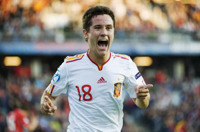 Ander Herrera of Spain celebrates as he scores the first goal during the UEFA Under-21 European Championship final match Spain vs Switzerland at the Aarhus Stadium, on June 25, 2011. AFP PHOTO/JONATHAN NACKSTRAND (Photo credit should read JONATHAN NACKSTRAND/AFP/Getty Images)