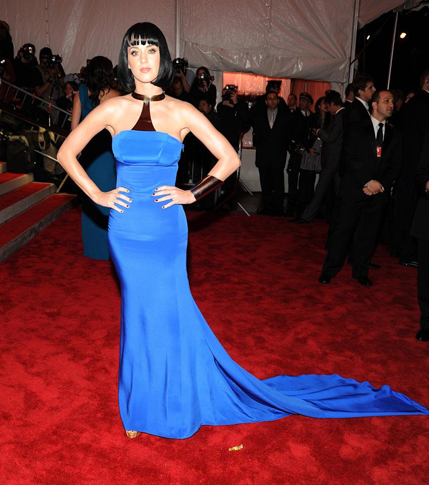 """I Kissed a Girl"" songstress Katy Perry wowed the crowd in a silk Tommy Hilfiger halter dress and Wonder Woman-inspired cuff. Kevin Mazur/<a href=""http://www.wireimage.com"" target=""new"">WireImage.com</a> - May 4, 2009"