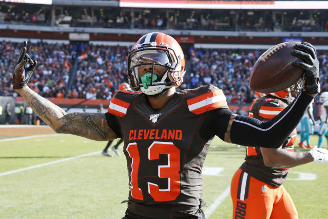 Cleveland Browns wide receiver Odell Beckham Jr. celebrates after a 35-yard touchdown during the first half of an NFL football game against the Miami Dolphins, Sunday, Nov. 24, 2019, in Cleveland. (AP Photo/Ron Schwane)