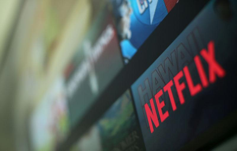 FILE PHOTO -- The Netflix logo is pictured on a television in this illustration photograph taken in Encinitas California