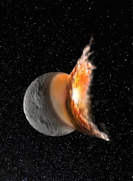 The young asteroid Vesta started off as a round protoplanet, but a massive collision early in its life caused it to become more elliptical in shape and created the giant crater Rheasilvia, scientists say. This image is an artist's illustration