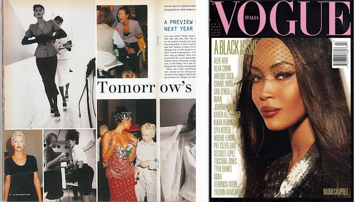 """From left: a Fashion Week report by Enninful in I-D's January 1995 issue; Naomi Campbell on Vogue Italia in July 2008.<span class=""""copyright"""">I-D: Nick Towers; Vogue Italia: Steven Meisel</span>"""