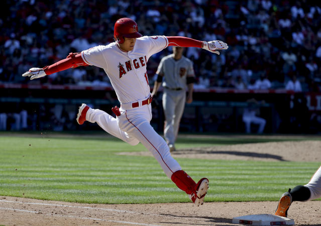 Los Angeles Angels' Shohei Ohtani, of Japan, grounds out to first during the eighth inning of a baseball game against the San Francisco Giants in Anaheim, Calif., Sunday, April 22, 2018. (AP Photo/Chris Carlson)