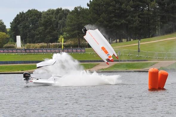 Powerboat drivers walk away after vessel flips 360 degrees in 120mph crash