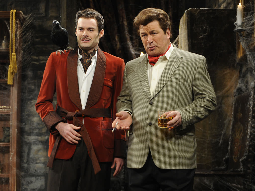 """SATURDAY NIGHT LIVE -- Episode 16 -- Air Date 02/14/2009 -- Pictured: (l-r) Bill Hader as Vincent, Alec Baldwin as Richard Burton during """"Vincent Price's Valentine's Day Special"""" skit on February 14, 2009 (Photo by Dana Edelson/NBC/NBCU Photo Bank via Getty Images)"""