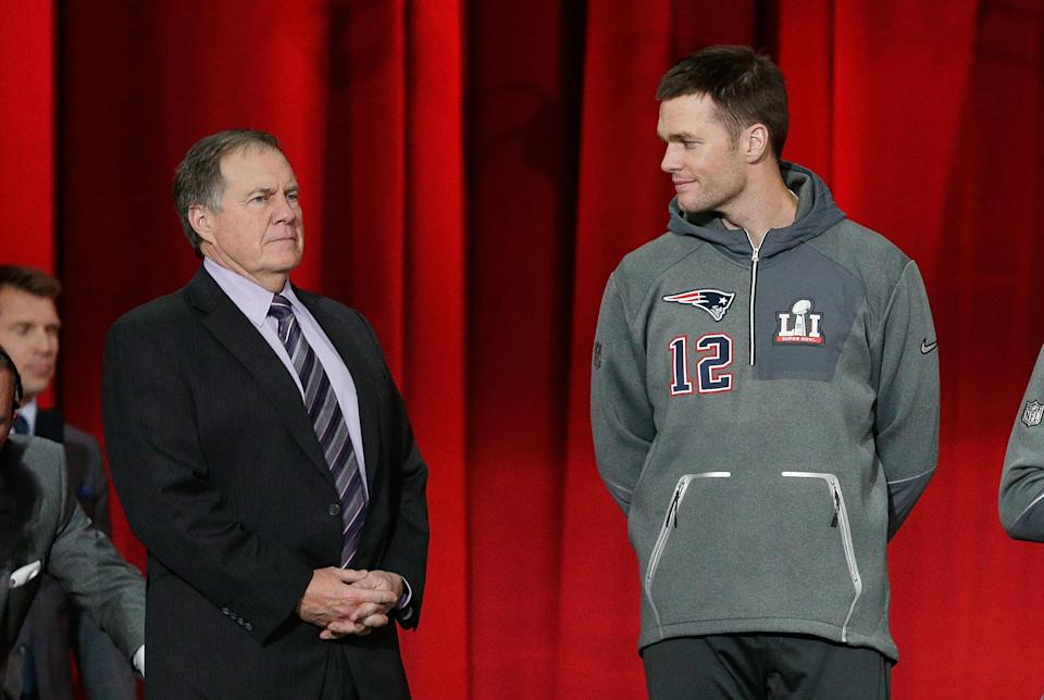 The debate has already begun: Who will have more success next season, Bill Belichick or Tom Brady? (Photo by Bob Levey/Getty Images)